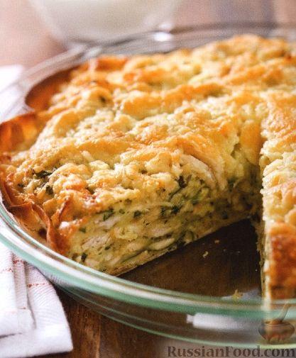 Рецепт Пирог с куриным мясом, острым перцем и сыром