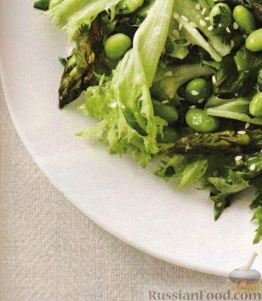 Рецепт Зеленый салат с соевыми бобами и спаржей
