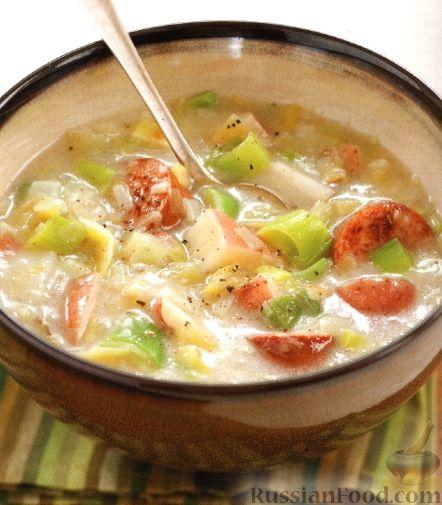 Рецепт Суп с пореем и копченой колбасой