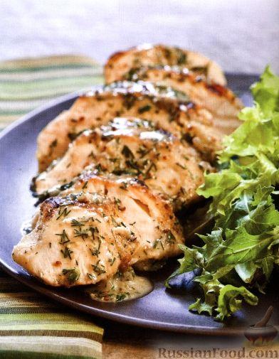 Рецепт Жареное куриное филе с укропным соусом
