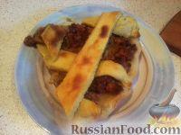 Фото к рецепту: Творожный пирог с мясом и капустой