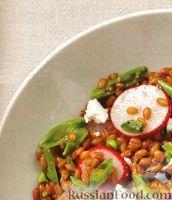 Фото к рецепту: Салат с пшеницей, редисом и зеленым горошком