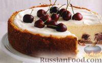Фото к рецепту: Чизкейк с белым шоколадом и вишнями