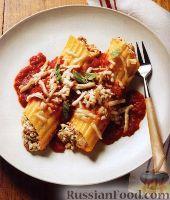 Фото к рецепту: Паста маникотти с мясом и тремя сырами