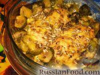 Фото к рецепту: Запеканка с куриными грудками и брюссельской капустой