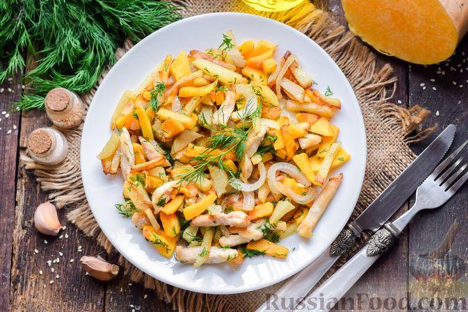 Фото изготовления рецепта: Жареная картофель с тыквой и курицей - шаг №13