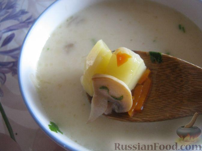 Рецепт Сырный суп с грибами
