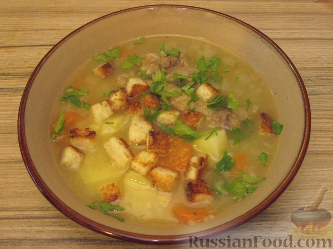 Рецепт Густой куриный суп с чесночными сухариками