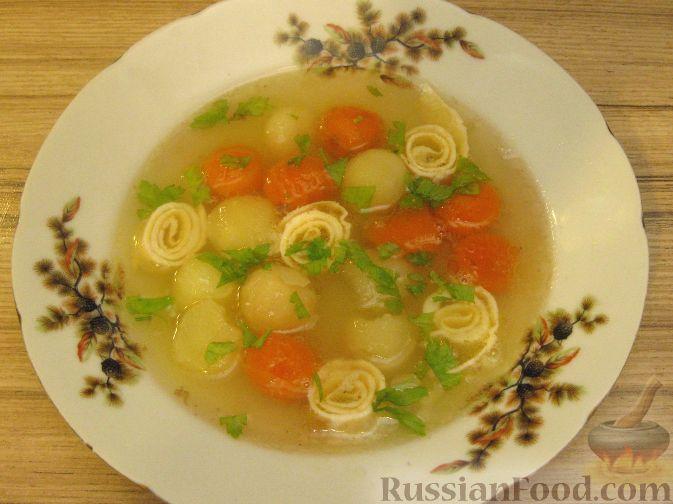 Рецепт Куриный суп с яичными блинчиками