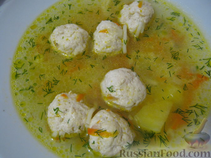 Рецепт Суп с фрикадельками и вермишелью