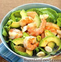 Фото к рецепту: Цитрусовый салат с креветками и спаржей