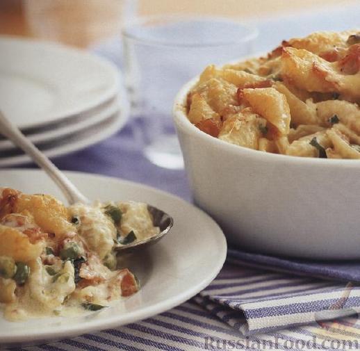 Рецепт Макароны-«ракушки» с ветчиной и сыром