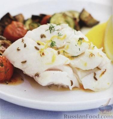 Рецепт Рыба с баклажанами, помидорами и цуккини