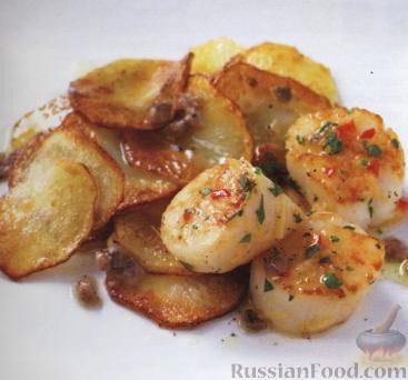 Рецепт Гребешки с картофелем под соусом из анчоусов