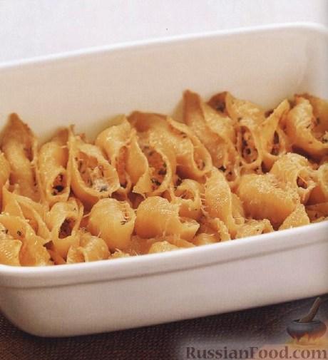 Рецепт Паста конкильоне (макароны-ракушки) с лососем и сыром