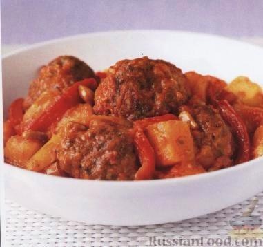 Рецепт Ливанские тефтели из баранины с картофелем и сладким перцем