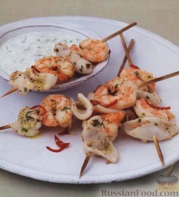 Рецепт Креветки и осьминожки с перцем и чесноком