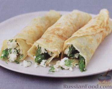 Рецепт Блинчики со спаржей, сыром фета и укропом