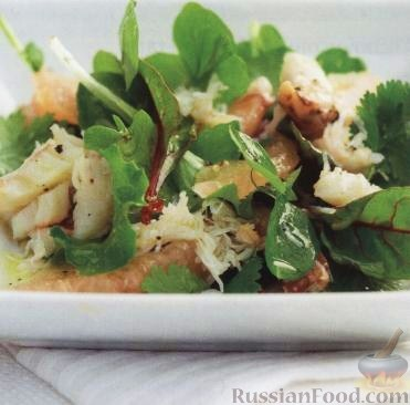 Рецепт Салат из мяса крабов с грейпфрутом и кинзой