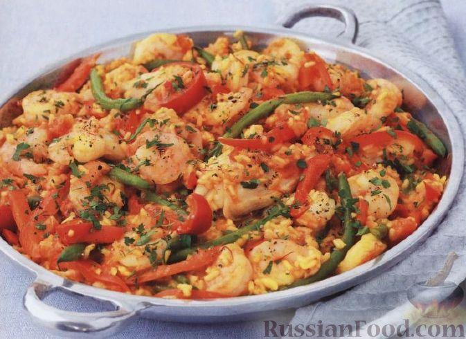 Рецепт Паэлья с курицей и креветками