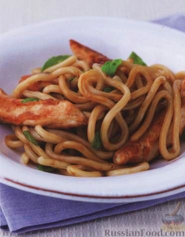 Рецепт Курица с лапшой и базиликом