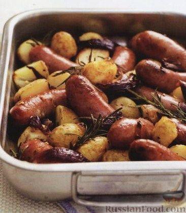 сардельки с картошкой в духовке рецепт с фото