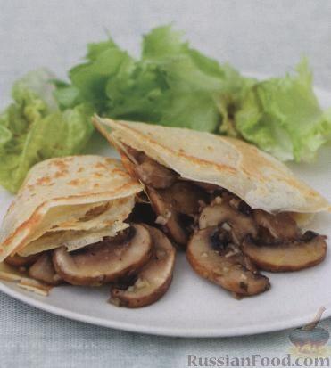 Рецепт Блинчики с грибами и чесноком