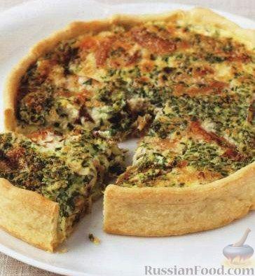 Рецепт Открытый пирог с копченой рыбой и зеленым луком