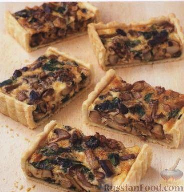 Рецепт Открытый пирог с грибами, орехами и шпинатом