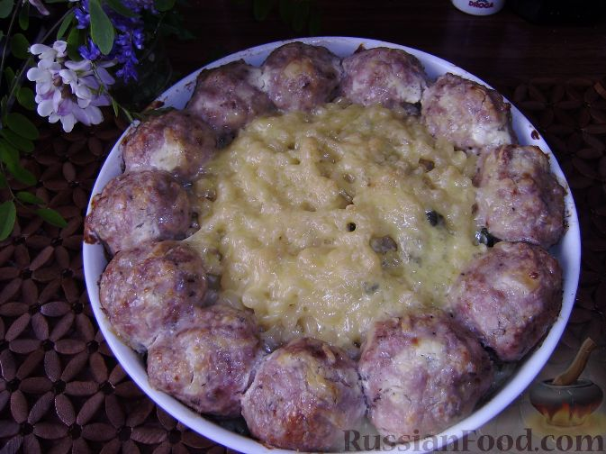 Рецепт Запеченные тефтели с макаронами