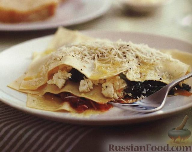 Рецепт Лазанья с грибами, сыром и шпинатом