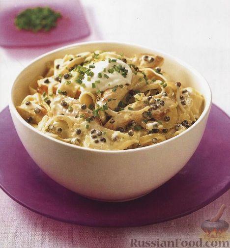 Рецепт Паста паппарделле (широкая лапша) с курицей и зеленым перцем