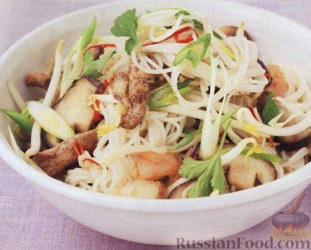 Рецепт Рисовая лапша с мясом и креветками
