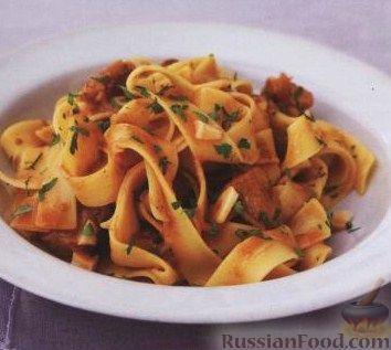 Рецепт Паста паппарделле (лирокая лапша) со свининой и печеным чесноком