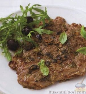 Рецепт Телячьи эскалопы (отбивные) с анчоусами, каперсами и оливками