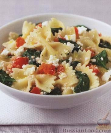 Рецепт Паста фарфалле (макароны-бантики) со шпинатом
