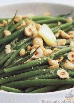 Рецепт Стручковая фасоль с жареными орехами