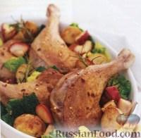 Фото к рецепту: Утиные ножки с яблоками, картофелем и розмарином