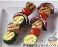 Фото к рецепту: Шашлычки из тунца, помидоров и цуккини