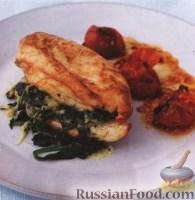 Фото к рецепту: Курица со шпинатом и сыром