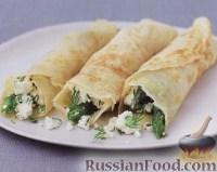 Фото к рецепту: Блинчики со спаржей, сыром фета и укропом