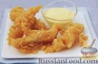 Фото к рецепту: Жареная рыба в кляре с лимонным майонезом