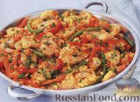 Фото к рецепту: Паэлья с курицей и креветками