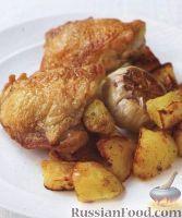 Фото к рецепту: Курица с чесноком, картофелем и сельдереем