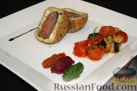 Фото к рецепту: Ягненок с капанатой с фасолью и тремя видами пюре