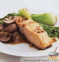 Фото к рецепту: Семга с грибами и китайской капустой пак чой