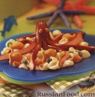 Фото к рецепту: Сосиски-осьминоги на макаронах-ракушках
