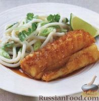 Фото к рецепту: Рыба терияки с лапшой