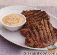 Фото к рецепту: Говядина маринованная и соус айоли с перцем
