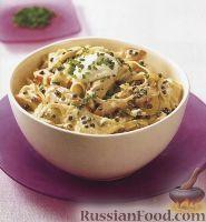 Фото к рецепту: Паста паппарделле (широкая лапша) с курицей и зеленым перцем